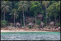 Beachfront huts and palm trees, Ko Phi-Phi Don. Krabi Province, Thailand ( color)