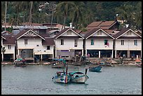 Boats and waterfront houses, Tonsai Village, Phi-Phi island. Krabi Province, Thailand (color)