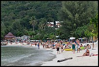 Packed beach, Ao Lo Dalam, Phi-Phi island,. Krabi Province, Thailand (color)