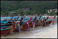Row of long tail boats on Lo Dalam beach, Phi-Phi island. Krabi Province, Thailand ( color)