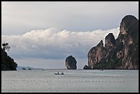 Distant boats and cliffs, Lo Dalam bay, Ko Phi-Phi Don. Krabi Province, Thailand (color)