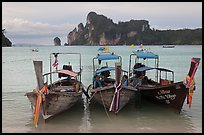 Boats, bay, and cliffs,  Ao Lo Dalam, Ko Phi-Phi island. Krabi Province, Thailand ( color)