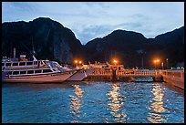 Harbor and cliffs at dusk, Ko Phi-Phi island. Krabi Province, Thailand (color)