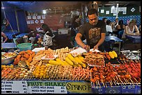Restaurant with seefood on skewers, Phi-Phi island. Krabi Province, Thailand (color)
