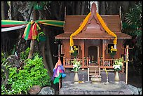 Spirit house and banyan roots, Phi-Phi island. Krabi Province, Thailand (color)
