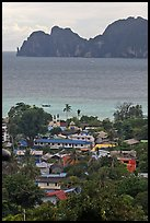 Village, bay and cliffs, Ko Phi-Phi island. Krabi Province, Thailand ( color)