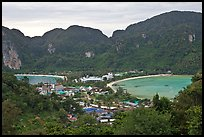 Twin bays and craggy hills, Ko Phi-Phi island. Krabi Province, Thailand ( color)
