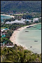 Lo Dalam beach and Tonsai village from above, Phi-Phi island. Krabi Province, Thailand ( color)