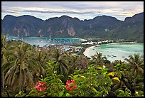 Panoramic view of isthmus and Tonsai village, Ko Phi-Phi island. Krabi Province, Thailand ( color)