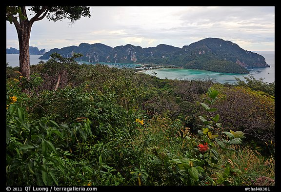 Tropical vegetation, bay, and hills, Ko Phi-Phi Don. Krabi Province, Thailand (color)
