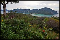 Tropical vegetation, bay, and hills, Ko Phi-Phi Don. Krabi Province, Thailand ( color)