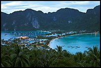 Tonsai village, bays, and hill at dusk from above, Ko Phi Phi. Krabi Province, Thailand (color)