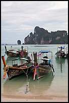 Long tail boats in serene waters of Lo Dalam bay, Ko Phi-Phi island. Krabi Province, Thailand