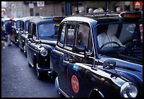 Black London cabs. London, England, United Kingdom (color)
