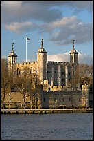 Tower of London seen across the Thames, late afternoon. London, England, United Kingdom