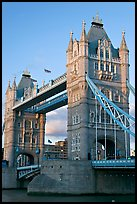 Close view of the two towers of the Tower Bridge. London, England, United Kingdom ( color)