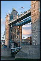 Close view of the Tower Bridge, a landmark 1876 bascule bridge. London, England, United Kingdom (color)