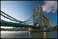 Wide view of Tower Bridge, a landmark 1876 bascule bridge. London, England, United Kingdom