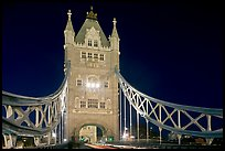 North Tower of the Tower Bridge at night. London, England, United Kingdom
