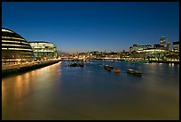 River Thames and skyline at night. London, England, United Kingdom