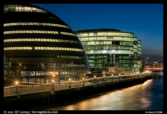 City Hall, designed by Norman Foster,  at night. London, England, United Kingdom (color)
