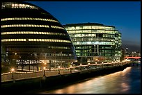 City Hall, designed by Norman Foster,  at night. London, England, United Kingdom ( color)