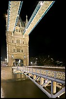 North Tower and upper walkway of the London Bridge at night. London, England, United Kingdom