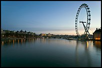 Thames River and Millennium Wheel at dawn. London, England, United Kingdom