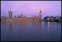 Houses of Parliament and Thames at dawn. London, England, United Kingdom (color)