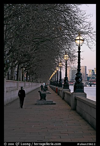 Riverfront promenade. London, England, United Kingdom