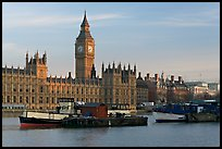 Boats and Houses of Parliament, early morning. London, England, United Kingdom
