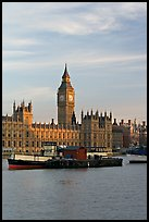 Houses of Parliament across the Thames, early morning. London, England, United Kingdom (color)