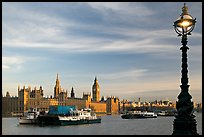 Lamp, Thames River, and Westminster Palace. London, England, United Kingdom