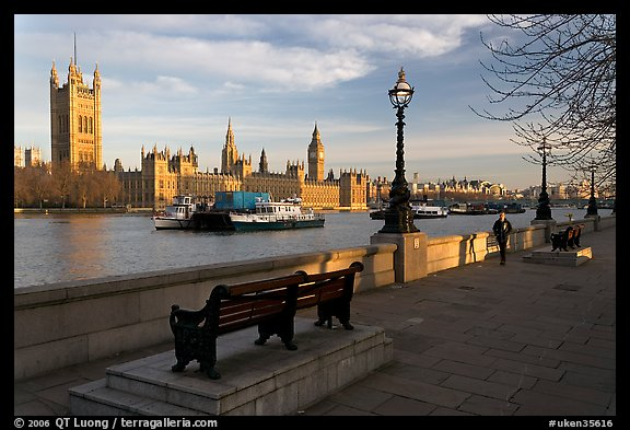 Riverfront promenade, Thames River, and Westminster Palace. London, England, United Kingdom