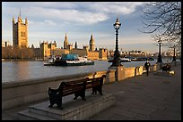 Riverfront promenade, Thames River, and Westminster Palace. London, England, United Kingdom ( color)