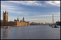 London Skyline with Westminster Palace, Westminster Bridge, and Millennium Wheel. London, England, United Kingdom