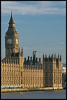 Houses of Parliament and Clock Tower, morning. London, England, United Kingdom (color)