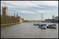 Skyline with Victoria Tower, Westminster Palace, Thames River and London Eye. London, England, United Kingdom ( color)