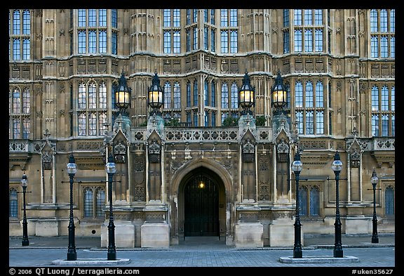 Gothic facade of Westminster Palace. London, England, United Kingdom