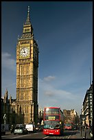 Double decker bus on Westminster Bridge  and Big Ben. London, England, United Kingdom ( color)