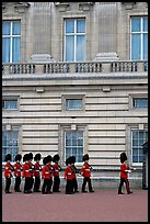 Guards marching during the changing of the Guard, Buckingham Palace. London, England, United Kingdom