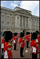 Musicians of the guard during the guard mounting in front of Buckingham Palace. London, England, United Kingdom (color)