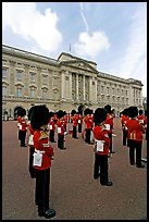 Guards and Buckingham Palace, the changing of the Guard. London, England, United Kingdom (color)