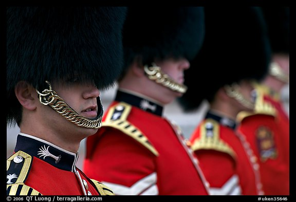 Close up of guards in ceremonial dress. London, England, United Kingdom (color)