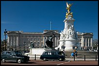 Victoria memorial and Buckingham Palace, mid-morning. London, England, United Kingdom