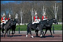 Horse guards riding near Buckingham Palace. London, England, United Kingdom (color)