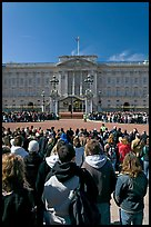 Tourists waiting for the changing of the guard in front of Buckingham Palace. London, England, United Kingdom ( color)