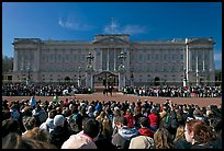 Crowds during  the changing of the guard in front of Buckingham Palace. London, England, United Kingdom
