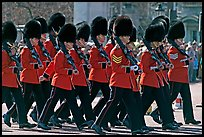 Guards with tall bearskin hats  marching near Buckingham Palace. London, England, United Kingdom