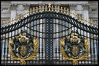 Entrance grids of Buckingham Palace with royalty emblems. London, England, United Kingdom (color)